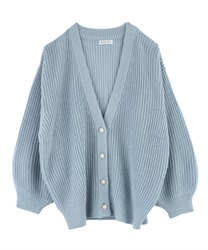 Loosely Designed Cardigan(Saxe blue-Free)