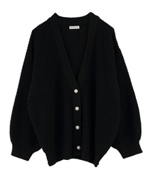 Loosely Designed Cardigan(Black-Free)