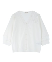 【2Buy10%OFF】Knit Cardigan with Ribbons(White-Free)