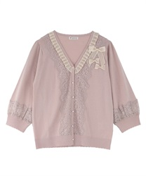 【2Buy10%OFF】Knit Cardigan with Ribbons(Pale pink-Free)