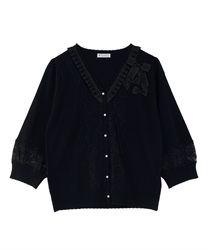 【2Buy10%OFF】Knit Cardigan with Ribbons(Black-Free)