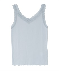 Two-way ribbed cami tank(Saxe blue-Free)