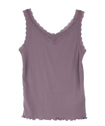Two-way ribbed cami tank(Lavender-Free)