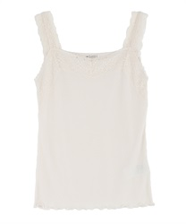 Lacy ribbed tank-top(White-Free)