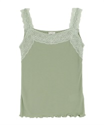 Lacy ribbed tank-top(Green-Free)
