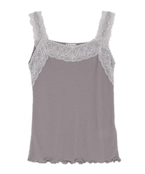 Lacy ribbed tank-top(Grey-Free)