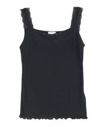 Lacy ribbed tank-top(Black-Free)