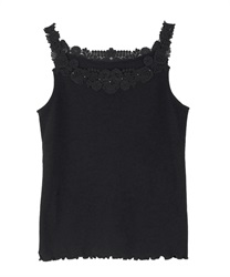 Tank with lace motifs(Black-Free)