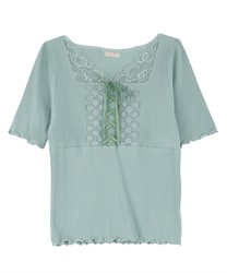 Lace-up Ribbed Cut Pullover(Green-Free)
