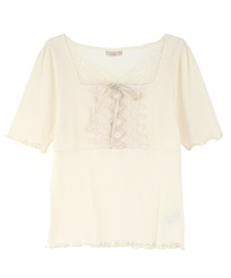 Lace-up Ribbed Cut Pullover(Cream-Free)