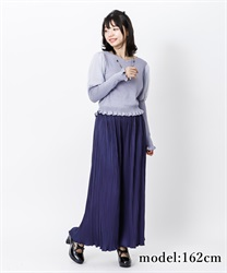 【2Buy10%OFF】Satin pleated pants(Navy-Free)