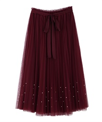 Tulle skirt with pearl design(Wine-Free)