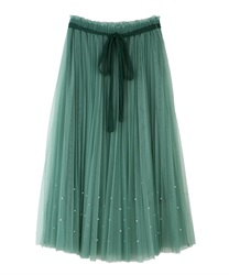 Tulle skirt with pearl design(Green-Free)