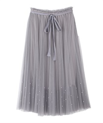 Tulle skirt with pearl design(Grey-Free)