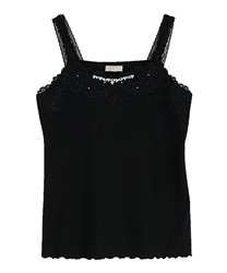 Bejeweled Design Camisole(Black-Free)