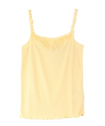 Motif lace tank top(Yellow-Free)