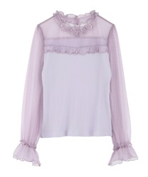 Dot Tulle Switching tops(Lavender-Free)