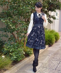 Theme:Tales Of Nostalgia .A-Line Dress 【Only at ONLINE SHOP】(Navy-Free)