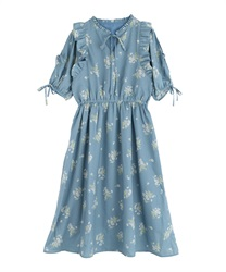 【2Buy10%OFF】Flower Print Long Dress(Saxe blue-Free)