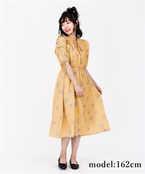 【2Buy10%OFF】Flower Print Long Dress(Yellow-Free)