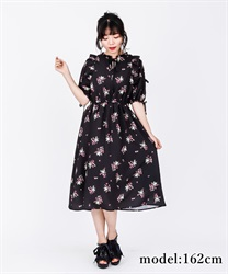 【2Buy10%OFF】Flower Print Long Dress(Black-Free)