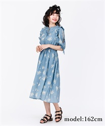 【2Buy10%OFF】Flower Print Long Dress