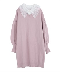 Detachable collar knit one-piece(Pale pink-Free)