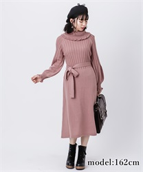 Off-total knit dress(Pale pink-Free)
