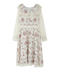 Flower bouquet tracy dress(Ecru-Free)