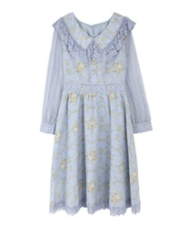 Flower bouquet tracy dress(Saxe blue-Free)