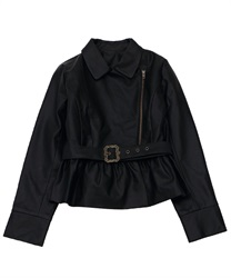 "Fril Rider's Jacket with ""Removable Belt""(Black-Free)"