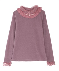 Neck design rib pullover(DarkPink-Free)