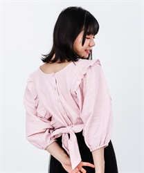 【2Buy10%OFF】2WAY Momonga Blouse(Pale pink-Free)
