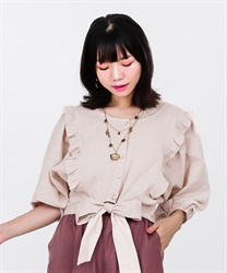 【2Buy10%OFF】2WAY Momonga Blouse(Beige-Free)