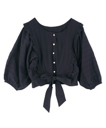 【2Buy10%OFF】2WAY Momonga Blouse(Black-Free)