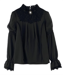 Blouse with pearl brooch(Black-Free)