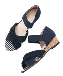 Cross-belt wedge sandals(Navy-M)