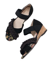 Cross-belt wedge sandals(Black-M)