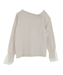 Asymmetrical embroidered pullover(White-Free)