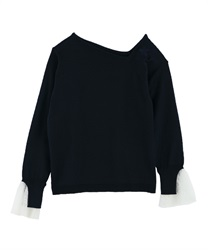 Asymmetrical embroidered pullover(Navy-Free)