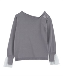 Asymmetrical embroidered pullover(Lavender-Free)