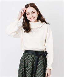 Lace design knit pullover(White-Free)