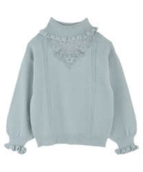 Lace design knit pullover(Green-Free)