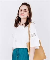 【2Buy20%OFF】Lace Flared Sleeve PO(White-Free)