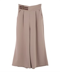 Flared pants with double belt(Pale pink-Free)