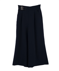 Flared pants with double belt(Navy-Free)