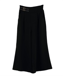 Flared pants with double belt(Black-Free)