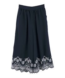 Hem embroidered wide pants(Navy-Free)