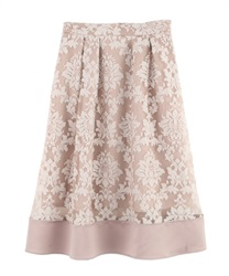 Ornament Pattern Tucked Skirt(Beige-M)