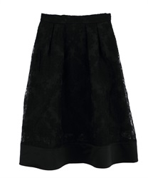 Ornament Pattern Tucked Skirt(Black-M)